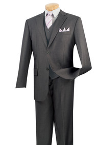 Vinci 2-Button Classic Suit with Vest - Heather Grey - X Long