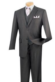 Vinci 2-Button Classic Suit with Vest - Heather Grey - X Long