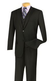 Vinci 2-Button Classic Suit with Vest - Black - X-Long