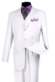 Lucci White 3-Button Vested Budget Suit with Pleated Slacks