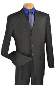 Fortini 3-Button 100% Wool Dark Blue Windowpane Suit