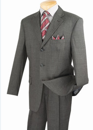 Fortini 3-Button 100% Wool Grey Burgundy Stripe Suit