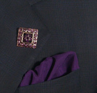 Antonio Ricci Fashion Lapel Pin/Button & Matching 100% Silk Pocket Square - Purple