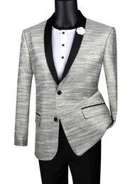 Vinci Silver Metallic Weave Fancy Sportcoat