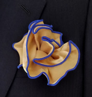 Antonio Ricci 2-in-1 Pouf Pocket Square - Royal Blue on Tan