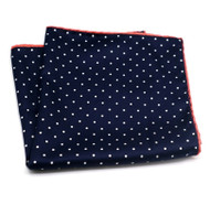 100% Silk Pocket Square - Navy Dot & Blush