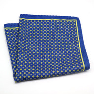 100% Silk Pocket Square - French Blue with Yellow
