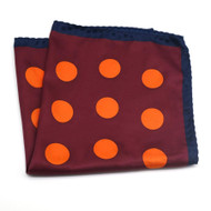 100% Silk Pocket Square - Burgundy with Orange Dots