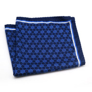 100% Silk Pocket Square - Navy & Blue Geometric Design