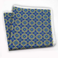 100% Silk Pocket Square - Royal & Yellow Prism Design