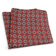 100% Silk Pocket Square - Small Medallions on Bright Red