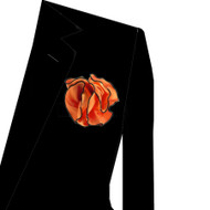 Black Trim on Orange 2-in-1 Pouf Pocket Square