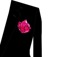 Black Trim on Hot Pink 2-in-1 Pouf Pocket Square