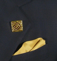 Antonio Ricci Fashion Lapel Pin/Button & Matching 100% Silk Pocket Square - Gold