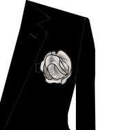 Black Trim on Silver Grey 2-in-1 Pouf Pocket Square