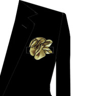 Black Trim on Light Gold 2-in-1 Pouf Pocket Square