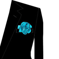 Black Trim on Turquoise 2-in-1 Pouf Pocket Square