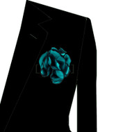Black Trim on Teal Blue 2-in-1 Pouf Pocket Square