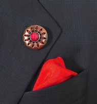 Antonio Ricci Red Fashion Lapel Pin/Button & Matching 100% Silk Pocket Square