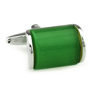 Green Cat's Eye Stone Arch Cufflinks (V-CF-166374)