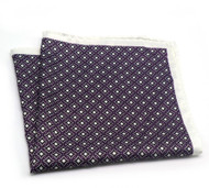 100% Silk Pocket Square - Purple Medallions on White