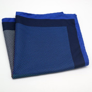 100% Silk Pocket Square - Blue 4 Square Design