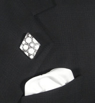 Antonio Ricci Fashion Lapel Pin/Button & Matching 100% Silk Pocket Square -White Diamond Shape