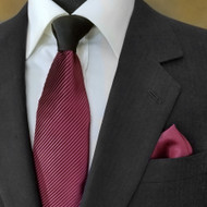 Antonio Ricci Contrasting Pleated Tie with Pocket Square - Wine