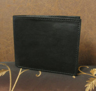 Black Leather Bi-Fold Men's Wallet