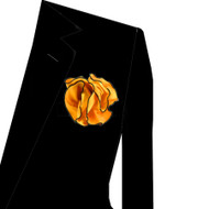 Black Trim on Amber 2-in-1 Pouf Pocket Square