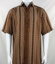 Bassiri Brown Chain Design Short Sleeve Camp Shirt