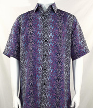 Bassiri Black, Blue & Purple Moroccan Pattern Short Sleeve Camp Shirt