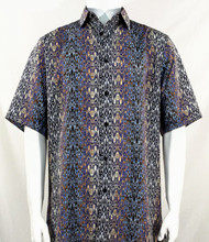Bassiri Black & Various Colors Moroccan Pattern Short Sleeve Camp Shirt