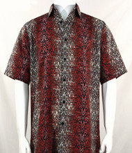 Bassiri Black & Dark Red Moroccan Pattern Short Sleeve Camp Shirt