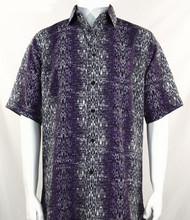 Bassiri Black & Purple Moroccan Pattern Short Sleeve Camp Shirt
