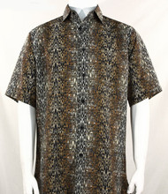 Bassiri Black & Brown Moroccan Pattern Short Sleeve Camp Shirt