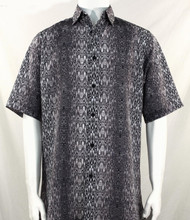 Bassiri Black & Grey Moroccan Pattern Short Sleeve Camp Shirt