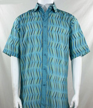 Bassiri Turquoise Dancing Line Design Short Sleeve Camp Shirt