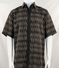 Bassiri Brown Dancing Line Design Short Sleeve Camp Shirt