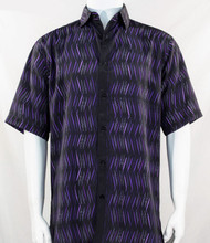 Bassiri Purple Dancing Line Design Short Sleeve Camp Shirt