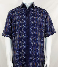 Bassiri Dark Blue Dancing Line Design Short Sleeve Camp Shirt
