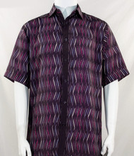 Bassiri Plum Purple Dancing Line Design Short Sleeve Camp Shirt