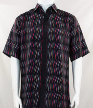 Bassiri Black Dancing Line Design Short Sleeve Camp Shirt