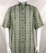 Bassiri Olive Step Ladder Pattern Short Sleeve Camp Shirt