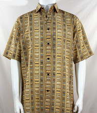 Bassiri Gold Step Ladder Pattern Short Sleeve Camp Shirt