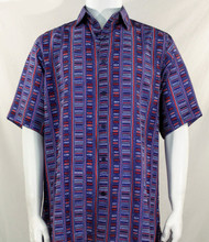 Bassiri Blue & Red Step Ladder Pattern Short Sleeve Camp Shirt