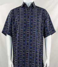Bassiri Blue & Black Step Ladder Pattern Short Sleeve Camp Shirt