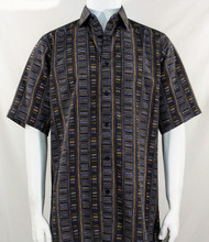 Bassiri Tan & Black Step Ladder Pattern Short Sleeve Camp Shirt