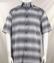 Bassiri Grey & White Blurred Line Design Short Sleeve Camp Shirt