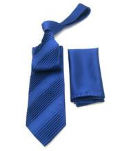 Antonio Ricci Diagonal Pleated Tie with Pocket Square - Blue Tone